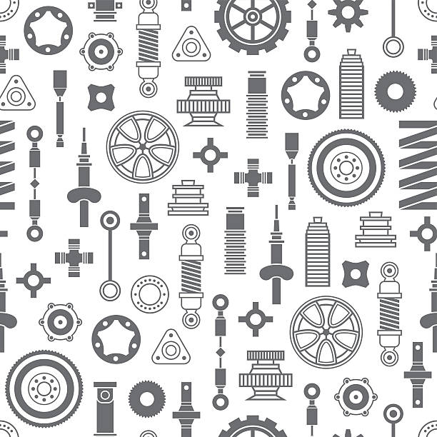 Auto spare parts seamless pattern Auto spare parts seamless pattern on white background vehicle part stock illustrations