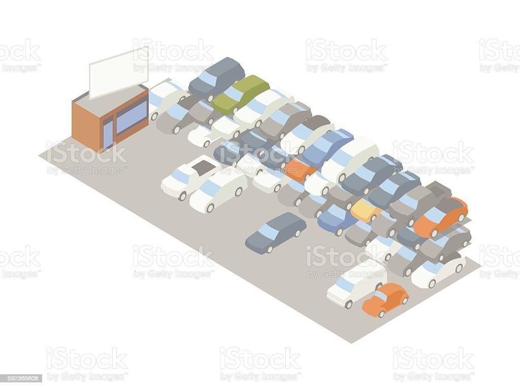 Auto storage lot illustration vector art illustration
