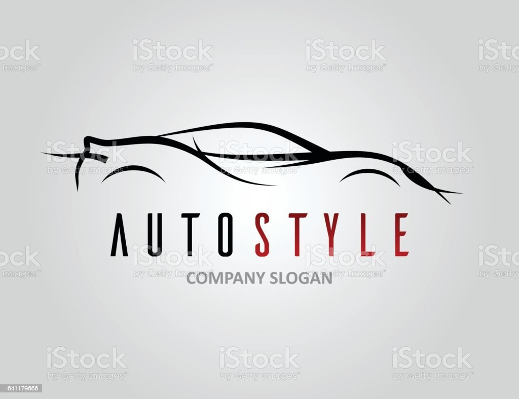 Auto style car logo design with concept sports vehicle silhouette vector art illustration