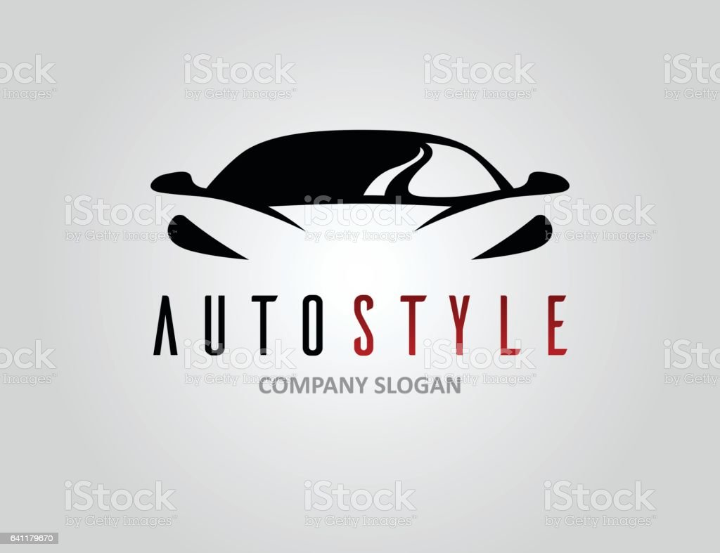Auto style car logo design with concept sports vehicle silhouette - illustrazione arte vettoriale