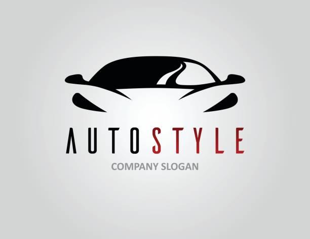 Auto estilo coche logotipo con la silueta de vehículo deportivo concepto - ilustración de arte vectorial