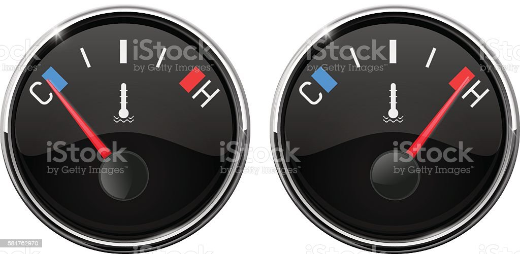 Auto temperature gauge. Hot and Cold indication vector art illustration