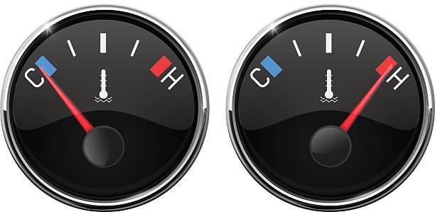 illustrazioni stock, clip art, cartoni animati e icone di tendenza di auto temperature gauge. hot and cold indication - car chill