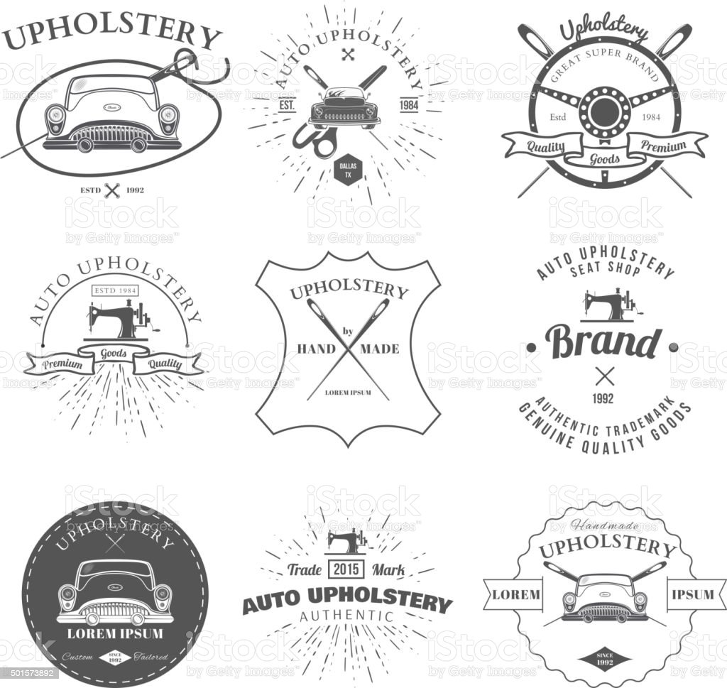 Auto Upholstery Vintage Badges and Labels Vector vector art illustration