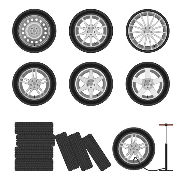 Auto wheels set. Wheels flat icons. Illustration of auto wheels and tire servise. tires stock illustrations