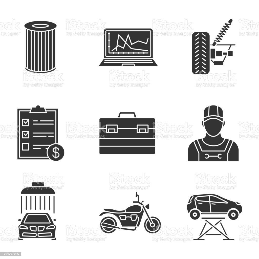 Auto workshop icons vector art illustration