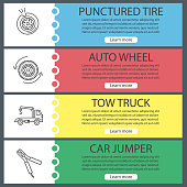 Auto workshop vector web banner templates set. Punctured tire, auto wheel, tow ruck, car jumper