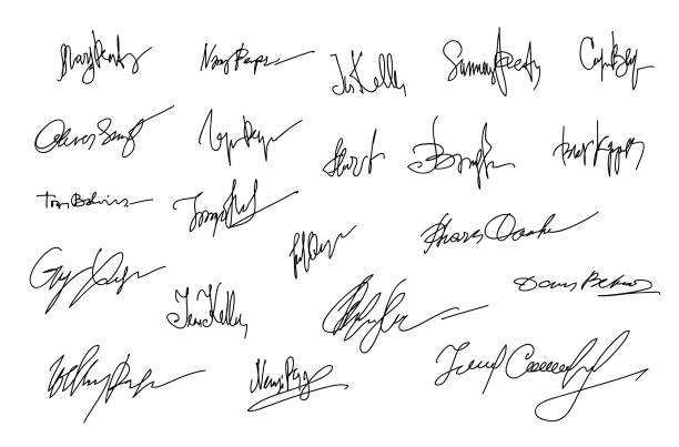 Autographs Set. Collection of Business Contract Signatures Autographs Set. Personal signature. Signature set. Scribbles of signatures as elements of documents. Set of imaginary signature. Set of autographs. Collection of Business Contract Signatures signature collection stock illustrations