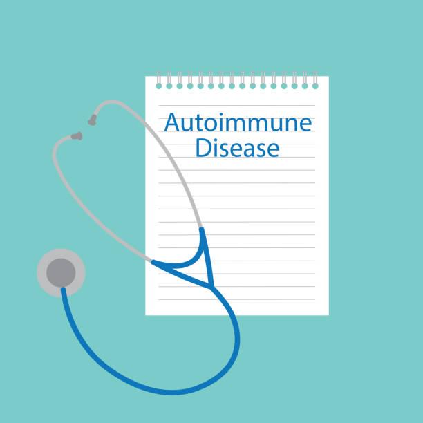 ilustraciones, imágenes clip art, dibujos animados e iconos de stock de enfermedad autoinmune por escrito en un cuaderno - thyroxine