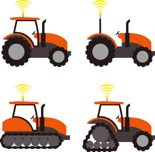 農用トラクターの自動 - リモート点のイラスト素材/クリップアート素材/マンガ素材/アイコン素材