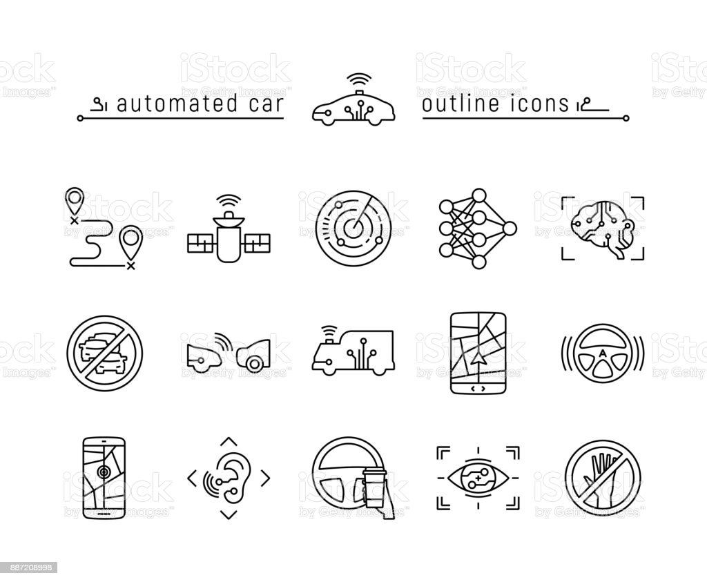 Automated car outline icon set vector art illustration