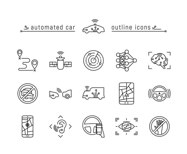 automated car outline icon set - self driving cars stock illustrations, clip art, cartoons, & icons