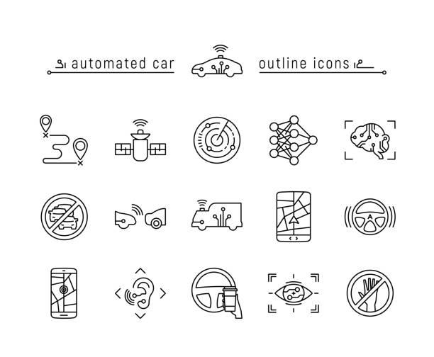 自動車の自動アウトラインのアイコンを設定 - 自動運転車点のイラスト素材/クリップアート素材/マンガ素材/アイコン素材