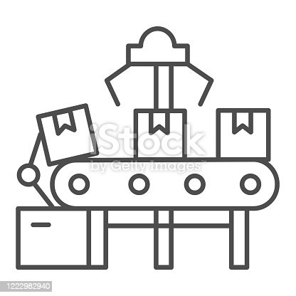 istock Automated conveyor and boxes thin line icon, delivery logistics symbol, Automatic conveyor belt with parcels vector sign on white background, automated cardboard packaging icon outline. Vector. 1222982940