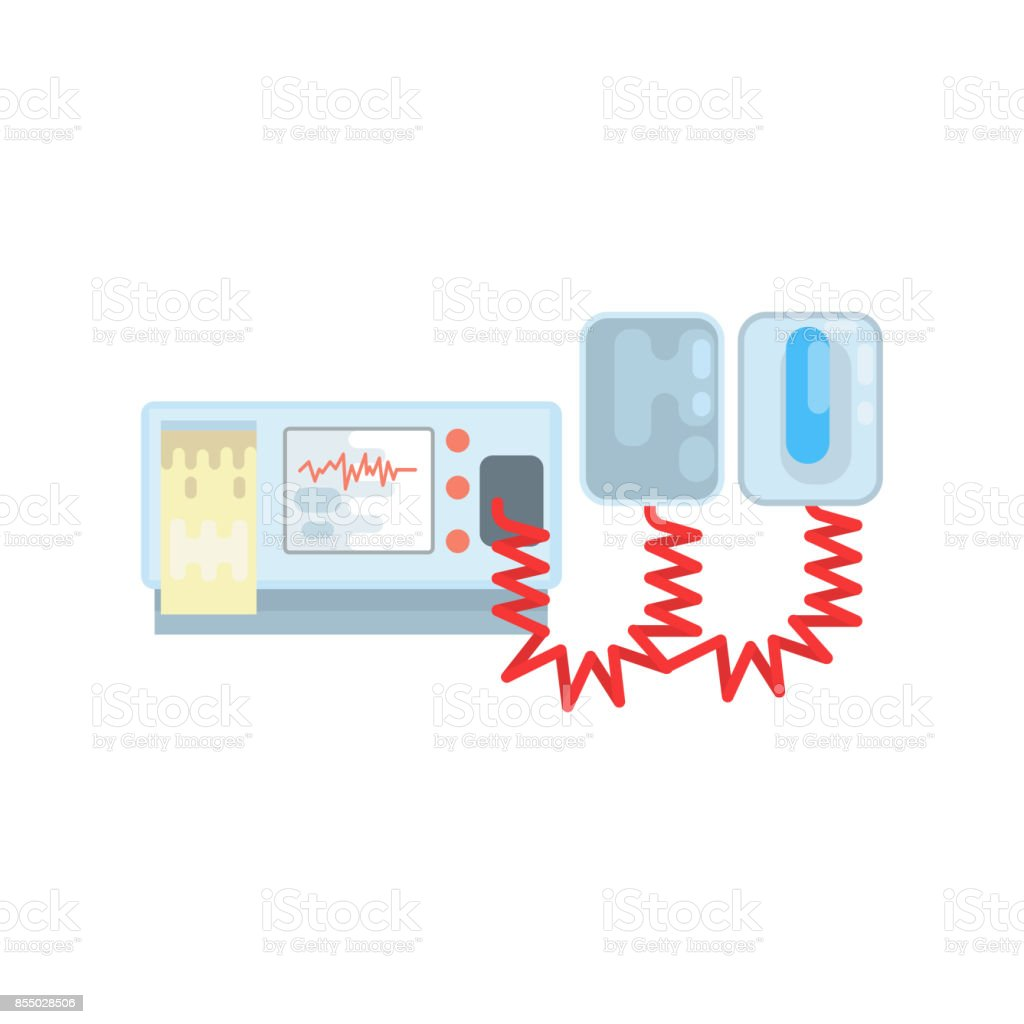 Automated external defibrillator, AED medical equipment vector Illustration vector art illustration