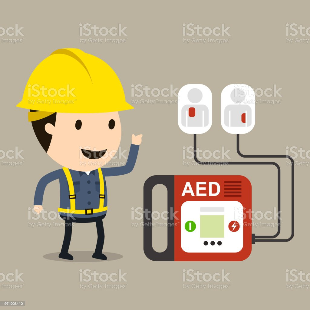 Automated External Defibrillator(AED) vector art illustration