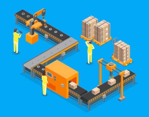 illustrations, cliparts, dessins animés et icônes de automatique usine vue 3d isométrique. vector - infographie industrie manufacture production
