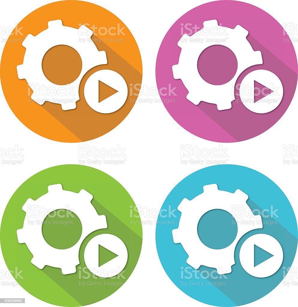 Automated Flat Icon Set vector art illustration