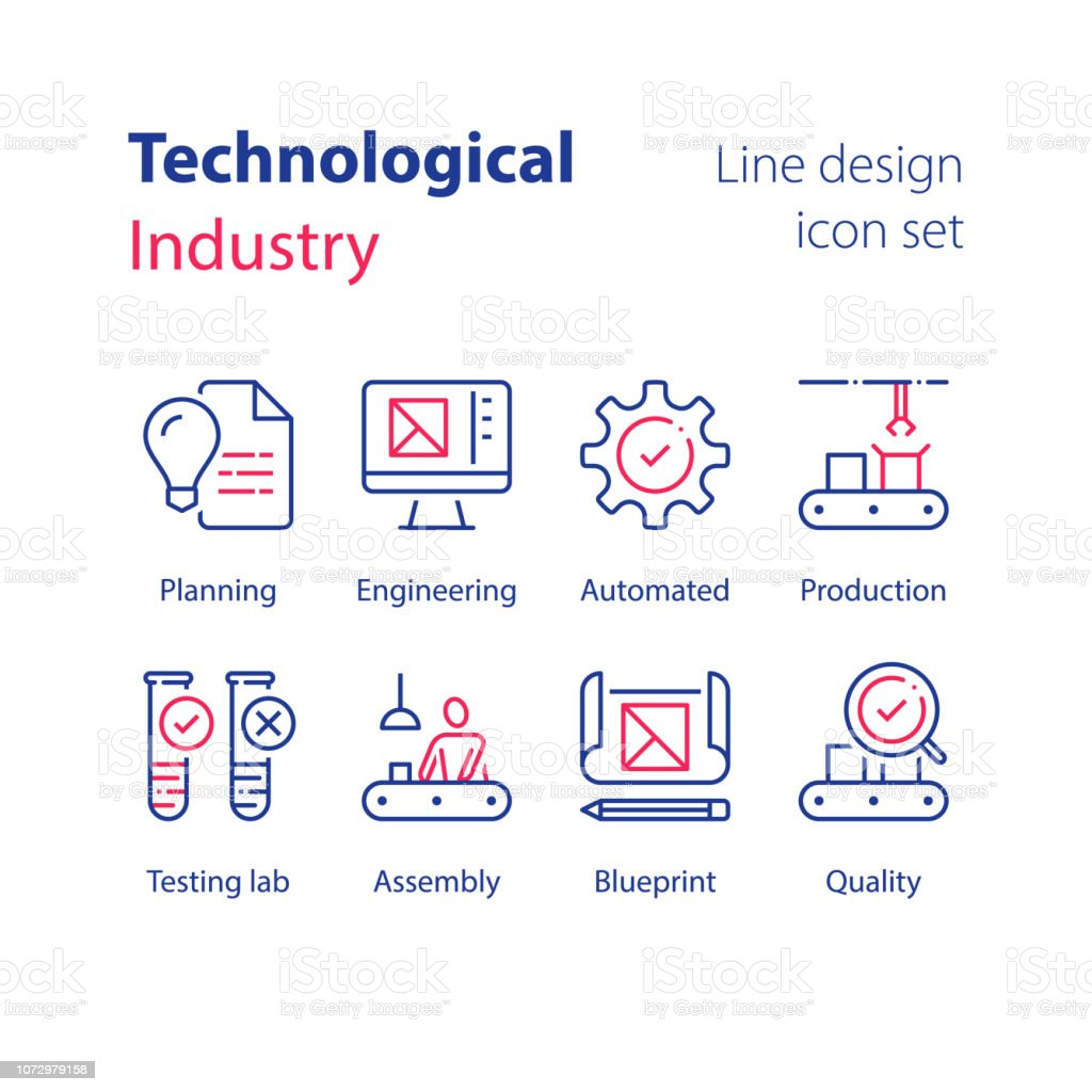 Geautomatiseerde industrie, technologische productie, arbeider bij assemblagelijn, kwaliteitscontrole, testlab, Monster buisvectorkunst illustratie