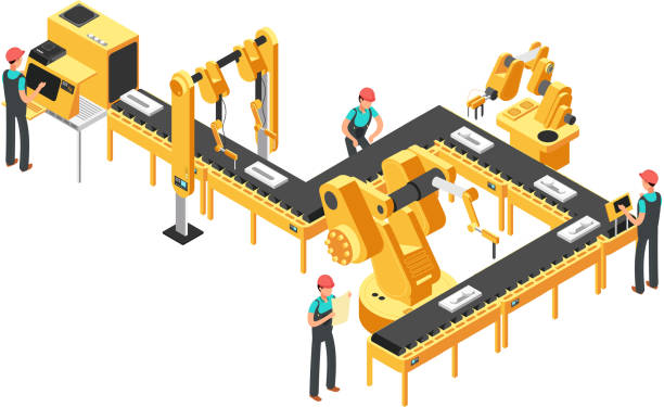Automated production line, factory conveyor with workers and robotic arms isometric industrial vector concept vector art illustration