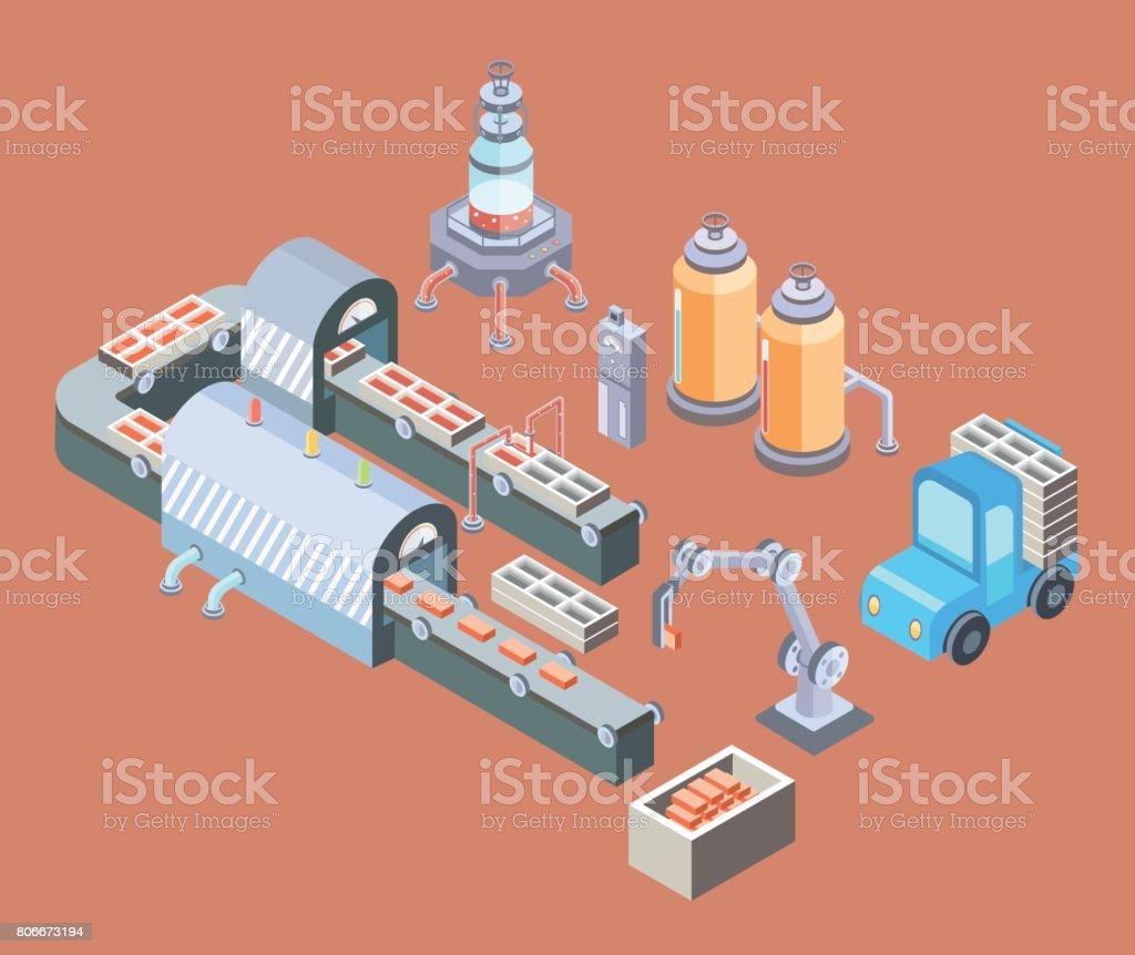 Geautomatiseerde productielijn. Werkvloer met transportband en diverse machines. Vectorillustratie in isometrische projectie.vectorkunst illustratie