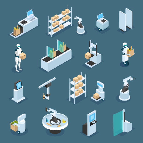 автоматизированные магазины изометрические значки - food delivery stock illustrations