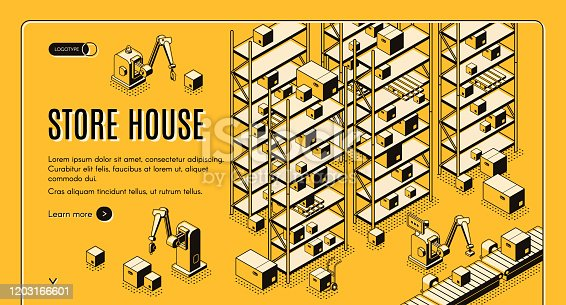 istock Automated storehouse isometric vector web banner 1203166601