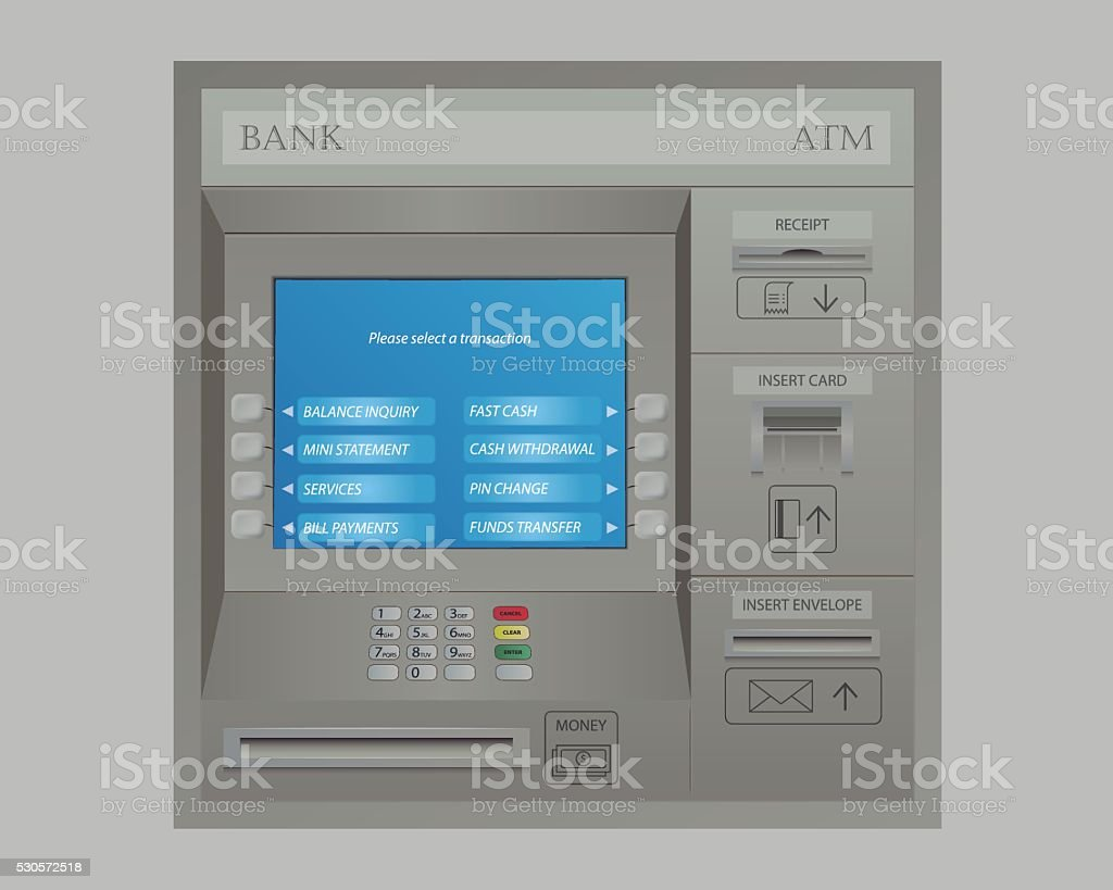 Automated Teller Machine of Bank vector art illustration