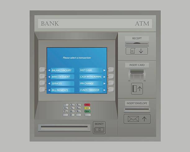 geldautomat maschine der bank - geldautomat stock-grafiken, -clipart, -cartoons und -symbole
