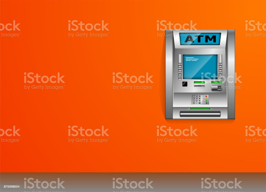 ATM - Automated teller machine. Orange wall. Metal construction. High detail. 3D view. vector art illustration