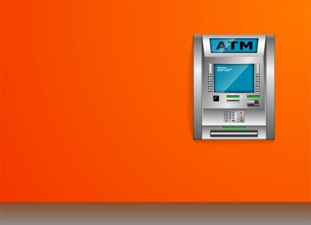 atm - geldautomaten. orange wand. metall-konstruktion. mit hohem detailgrad. 3d ansicht. - geldautomat stock-grafiken, -clipart, -cartoons und -symbole