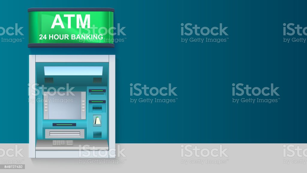 ATM - Automated teller machine with green lightbox, 24 hour banking. Template with ATM terminal for advertisement on horizontal long backdrop, 3D illustration vector art illustration