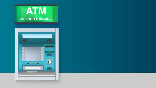 atm - automated teller machine mit grünen lightbox, banking rund um die uhr. vorlage mit atm terminal für werbung auf horizontale lange hintergrund, 3d illustration - geldautomat stock-grafiken, -clipart, -cartoons und -symbole