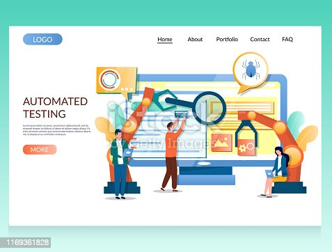 Automated testing vector website template, web page and landing page design for website and mobile site development. Software testing and debugging, SQA.