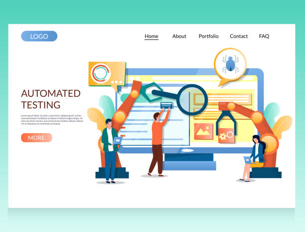 Automated testing vector website landing page design template Automated testing vector website template, web page and landing page design for website and mobile site development. Software testing and debugging, SQA. scientific experiment stock illustrations