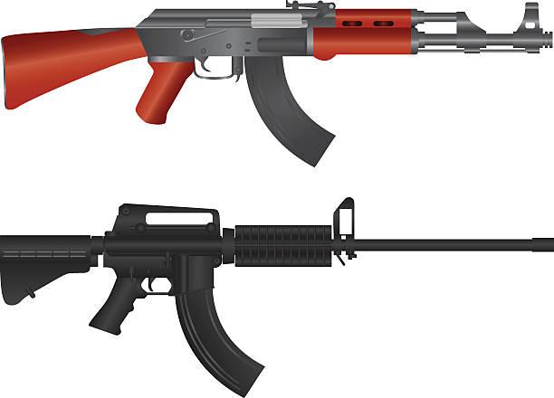 Automatic Assault Rifles Vector Illustration Assault Rifles AR 15  and AK 47 Semi Automatic Weapons Vector Illustration Isolated on White Background ar 15 stock illustrations