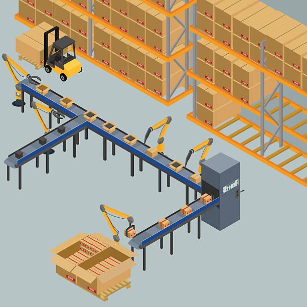 automatic belt conveyor vector art illustration