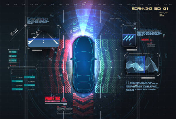 自動制動系統可避免車禍的發生。駕駛員輔助系統的概念。自動駕駛汽車。無人駕駛汽車。自駕車輛。未來概念智慧汽車。hud、gui、全息圖 - 獨立 幅插畫檔、美工圖案、卡通及圖標