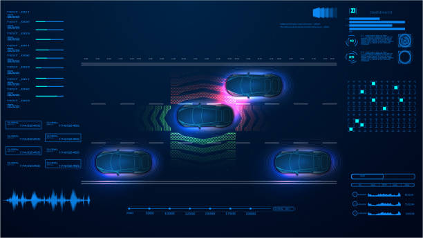 stockillustraties, clipart, cartoons en iconen met automatisch remsysteem vermijd auto crash van auto-ongeluk. concept voor hulpsystemen voor bestuurders. autonome auto. auto zonder bestuurder. zelfrijdende voertuig. toekomstige concepten smart auto. hud, gui, hologram - onderweg