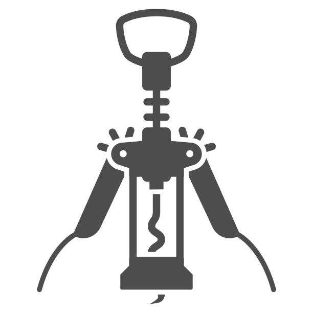 Automatic corkscrew solid icon, Wine festival concept, Bottle opener sign on white background, corkscrew icon in glyph style for mobile concept and web design. Vector graphics. Automatic corkscrew solid icon, Wine festival concept, Bottle opener sign on white background, corkscrew icon in glyph style for mobile concept and web design. Vector graphics alcohol drink clipart stock illustrations