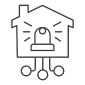Automatic danger alarm at home thin line icon, smart home concept, Alarm lamp in the building sign on white background, House under protection icon in outline style mobile, web. Vector graphics