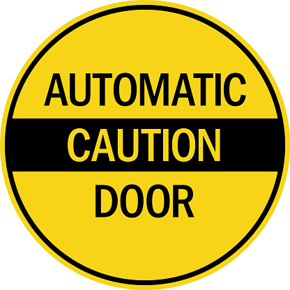 Automatic door caution Sign. Yellow circle background. Safety signs and symbols.