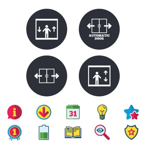 Automatic door icons. Elevator symbols. vector art illustration