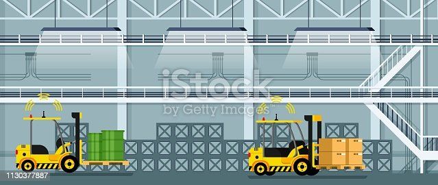 Automatic Forklift Car Driving Freight and Goods. Mechanical Loader Carrying Cardboard Box and Green Tank. Empty Manufacturing Warehouse. Smart Factory. Flat Cartoon Vector Illustration