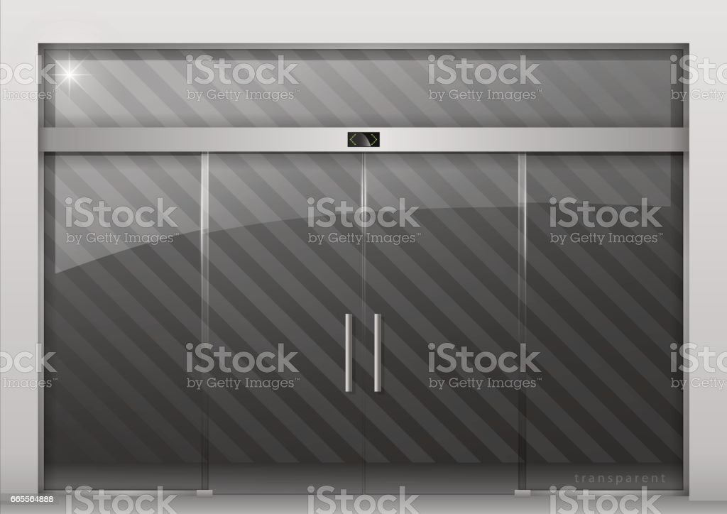 Automatic glass doors vector art illustration