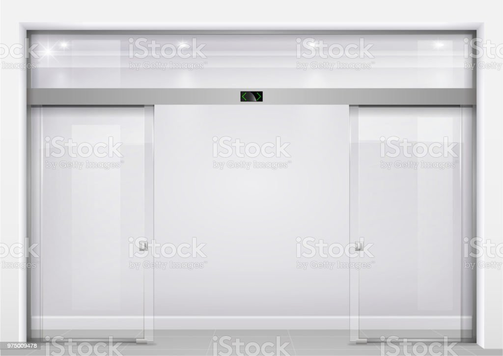 Automatic glass doors royalty-free automatic glass doors stock illustration - download image now