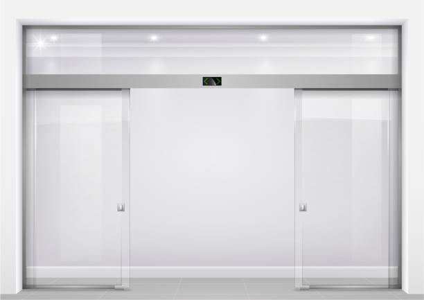 Automatic glass doors Double sliding glass doors with automatic motion sensor. Entrance to the office, train station, supermarket. airport borders stock illustrations