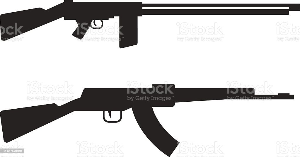 automatic machine gun ak 47 isolated on white black silhouette stock rh istockphoto com ak47 logo vector free ak47 vector