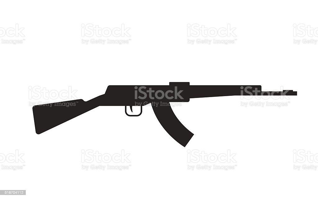 自動機械ゴンモ AK 47 に隔てられたホワイト、ブラックのシルエット ベクターアートイラスト