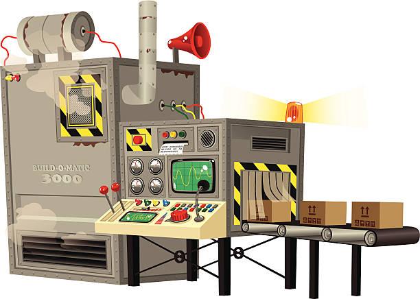 automatic machine producing goods - machine stock illustrations, clip art, cartoons, & icons